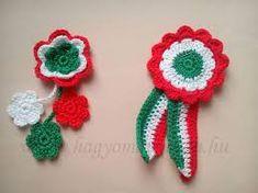 """Képtalálat a következőre: """"kokárda"""" Crochet Earrings, Applique, Projects To Try, March, Amigurumi, Accessories, India, Crochet Granny, Mac"""