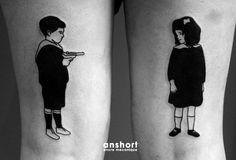 Je t'aime moi non plus  #tattoo #tatouage #flash #boy #girl #fille #garçon #touchepipi #amour #enfant #enfants #kids #children #leg #together #forever
