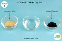 5 DIY Peel-Off Facial Masks to Deep Clean Pores and Blackheads things you'll need to make DIY peel off facial mask with activated charcoal and gelatin Activated Charcoal Mask, Charcoal Mask Benefits, Charcoal Mask Peel, Homemade Face Masks, Diy Face Mask, Best Peel Off Mask, Deep Clean Pores, Skin Tightening Mask, Pore Mask