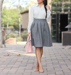 StylishPetite.com | Classic Grey Pleated Skirt and Polka Dots
