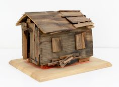 Patching Up 2009 8 x 14 x 11 inches x x cm) Wood shack Bird House Feeder, Little Houses, Mini Houses, Small Buildings, Ceramic Figures, Futuristic Architecture, Miniature Houses, House In The Woods, Box Art
