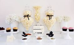cute party idea: popcorn bar with different seasonings and dips