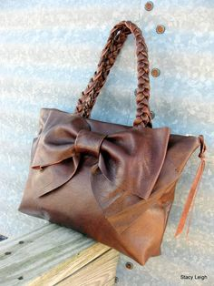 Leather Bow Handbag in Distressed Dark Chestnut Brown Medium Size by Stacy Leigh Made to Order