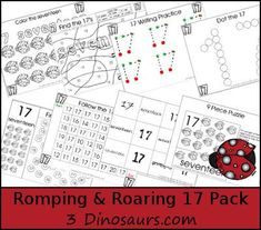 Free Romping & Roaring Number 17  - coloring pages, playdough mats, counting, tracing and more 39 pages great for ages 3 to 6 or 7 - It has a bug theme - 3Dinosaurs.com