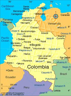 These five cities highlight Colombia's most scenic areas: Santa Marta, Medellin, San Andres, Cartagena, and Bogota. Columbia South America, South America Map, Central America, America Girl, Colombia Map, Colombia Travel, Colombia Geography, Puerto Rico, Equador