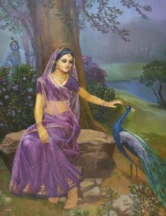 Radharani - Flowers of Vindavana Indian Women Painting, Indian Art Paintings, Krishna Painting, Krishna Art, Krishna Statue, Radhe Krishna, Rajasthani Painting, Goddess Art, Durga Goddess