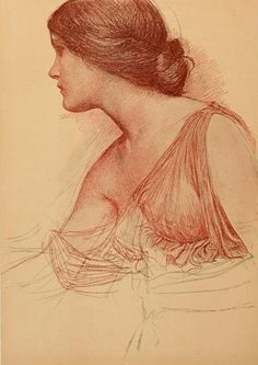 Study in sanguine by J. W. Waterhouse. Plate from 'The Studio' (1908). Published Leicester Square, London. archive.org