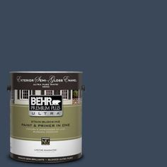 BEHR Premium Plus Ultra 1-gal. #M500-7 Very Navy Semi-Gloss Enamel Exterior Paint-585301 - The Home Depot