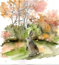 Bunny in a clearing original watercolor painting animals forest woodland painting on Etsy, $28.47