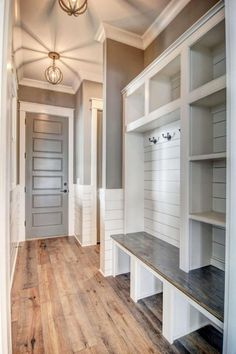 farmhouse mudroom ideas - grey and white modern country style mudroom ideas for entryway mud rooms or laundry mudrooms