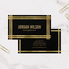 Elegant Bold Borders Black Faux Gold Event Planner Business Card by Rosewood and Citrus on Zazzle