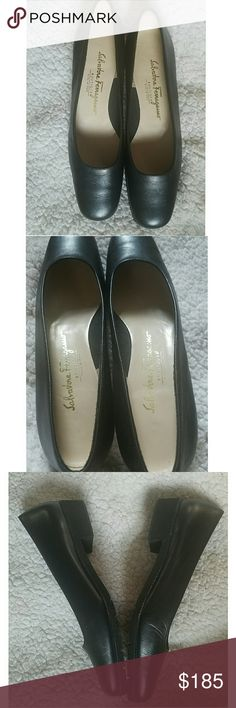 Salvatore Ferragamo Boutique Slip on Flats Classic pair of vintage flats by Italian designer Salvatore Ferragamo. Genuine leather made in Italy.  Very light comfortable shoe with immaculate foam bottom. Like new condition for these vintage beauties.   Leather outer  and soft suede lining/insole.  Narrow square toe softly rounded.  Slight heel to the flat. Vintage Sal. Ferragamo shoes run smaller/narrow so some people need to wear a half size bigger . THESE ARE NARROW and fit narrow feet…
