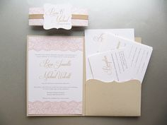 Wedding Invitation Pocketfold Suite Elegant von JutingDesignStudio