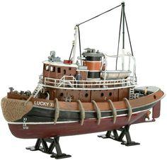 Rabatt auf: Revell Modellbausatz Schiff - Harbour Tug B Scale Model Ships, Scale Models, Model Building Kits, Boat Building, Plastic Model Kits, Plastic Models, Le Cargo, Tug Boats, Sailing Ships
