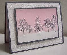 """Stamps: Lovely as a Tree (SU)  Paper: Basic Gray, Whisper White (SU!)  Ink: Pink Pirouette, Pretty in Pink, Basic Gray (SU)  Accessories & Tools: Big Shot, Cuttlebug """"Snowflakes"""" embossing folder, brayer, post-it notes for masking, Stamp-a-ma-jig, white gel pen, sponges, removeable tape, sticky strips, adhesives, and dimensionals"""
