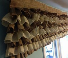 Curtain - Burlap Curtain - Ruffle Burlap Curtain - Burlap Valance - Customize your Colors and Size. $60.00, via Etsy.