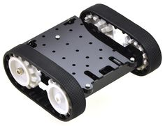 The Pololu Zumo chassis is a small, tracked robot platform that is less than 10 cm on each side, allowing it to qualify for Mini Sumo competitions.  The main body is composed of black ABS and features a compartment for four AA batteries and sockets for two micro metal gearmotors.  It ships as a kit with two silicone tracks, two drive and two idler sprockets, a 1/16″ acrylic mounting plate, and mounting hardware. (Motors and batteries are not included.)