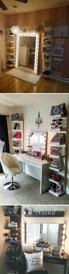 40 awesome makeup storage designs and diy ideas for girls beauty room · diy room decor Diy Makeup Organizer, Diy Organization, Organizing Ideas, Clothing Organization, Organizing Jewelry, Organizing Clutter, Storage Design, Diy Storage, Storage Ideas