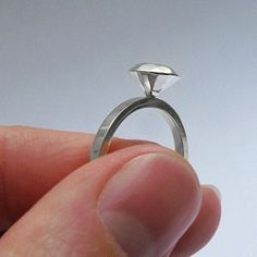 Silver rock ring - indie twist on a super classic setting ... LOVE THIS!