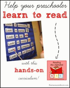 I love using this reading curriculum with my preschool aged boys.  Hands on, fun, and it works!