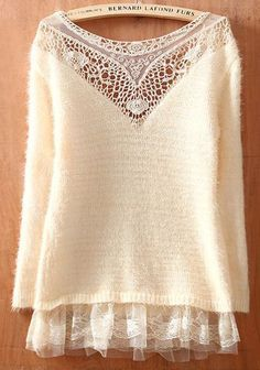 lace top below sweater - Google Search