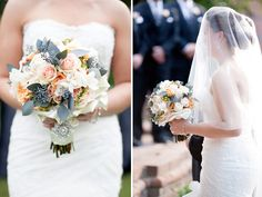 This stunning peach and grey wedding bouquet is absolutely dreamy! Soft and delicate sweetheart roses are mixed with a sharper texture of grey leaves and filler to create an alternation of textures. And the handtied with broach was spectacular!