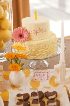 Sunshine Birthday Party via Kara's Party Ideas, BHLDN number candle holder