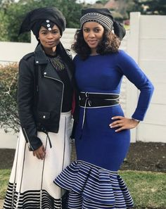 Blue n stripe gown South African Dresses, South African Traditional Dresses, African Wear Dresses, Latest African Fashion Dresses, Traditional Fashion, African Attire, Traditional Outfits, Zulu Traditional Wedding, African Outfits