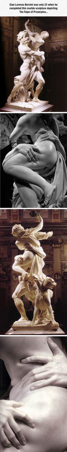 Fotos que realmente no le hace justicia, Gian Lorenzo Bernini sólo el siglo 23 fue cuando él terminó su escultura de mármol que representa a La violación de Proserpina ...sin palabras