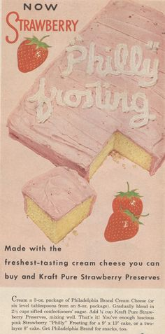 Vintage--Strawberry frosting recipe from old Philadelphia Cream Cheese ad #vintage