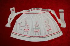 1940's-1950's Dinnertime Vintage Apron  I also have this apron along with the man's full apron. They are hand embroidered and cute as can be. They are in my kitchen.