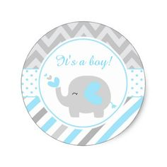 Blue and Gray Elephant Monthly Baby Milestone Classic Round Sticker Unique Baby Shower, Baby Boy Shower, Baby Shower Gifts, Elephant Baby Showers, Baby Elephant, Imprimibles Baby Shower, Monster Inc Party, Baby Stickers, Memory Album