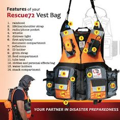 the rescue72 vest bag...72 hour kit