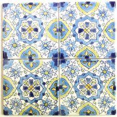 CARO チュニジア手描きタイル 10x10 薄 27 - チュニジア - MANGOROBE   マンゴロベ