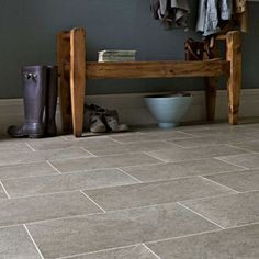 Karndean Knight Tile Portland Stone, approx for the whole room, from Factory Flooring Direct Hall Flooring, Stone Flooring, Kitchen Flooring, Flooring Ideas, Karndean Knight Tile, Karndean Design Flooring, Amtico Flooring, Wooden Kitchen, Kitchen Decor