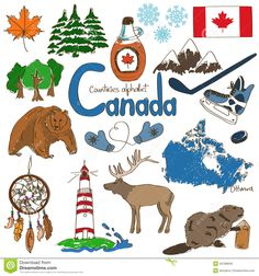 Illustration about Fun colorful sketch collection of Canada icons, countries alphabet. Illustration of national, illustration, background - 42189849 Canadian Culture, Canadian History, Canadian Symbols, American History, Geography For Kids, World Geography, Geography Of Canada, Teaching Geography, World Thinking Day