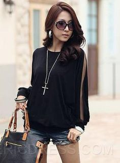 Ericdress Round Neck Casual T-Shirt Long Sleeve T-shirts
