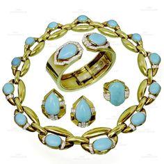 1960s DAVID WEBB Diamond Turquoise Platinum 18k Yellow Gold Jewelry Suite #DavidWebb #JewelrySets
