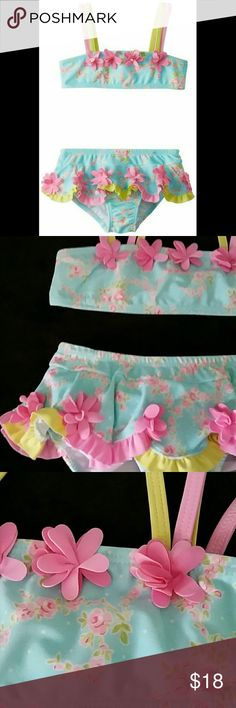 Kate Mack NWT Water Sprite Blue 2pc Swimsuit Kate Mack Water sprite 2 pc bikini swimsuit.  Brand new with tags; never worn.  3D petal flower accents.  Bandeau style top with double shoulder straps.  Bottoms have flounce skirt overlay.  Fully lined.  80% nylon, 20% spandex.  UPF 50+ rating. Kate Mack Swim Bikinis