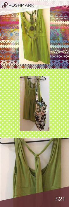"""""""6 degrees"""" Lime green Halter-Top   Size: S The perfect Top for Summer. Allows you to stay cool with its halter-top backless style while still looking adorable!  Worn one time to the Beach to attend a (Baby) Shower-by-the-Sea. This unique Top is very versatile and can be dressed up with some white pants or down with some khaki shorts.  True to Size Small. Smoke and Pet Free Home 6 degrees Tops"""