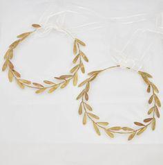 Stefana Greek Crowns Ancient Greek Style Wedding headpieces Raw Bronze Olive Leafs Orthodox Wedding Stefana