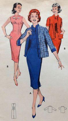 Vintage Dress and Jacket Sewing Pattern UNCUT by latenightcoffee