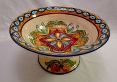 Maxcera Tuscan Jewel Large Pedestal / Footed Centerpiece / Fruit Bowl #Maxcera