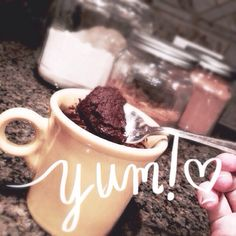 brownie in a mug with peppermint essential oil doterra