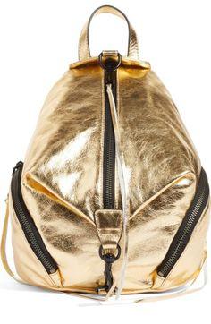 REBECCA MINKOFF Medium Julian Metallic Leather Backpack. #rebeccaminkoff #bags #