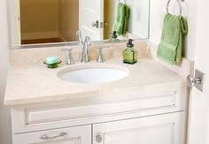 Bathroom vanity in Masada Gold limestone with Eased edges. Edge Design, Modern Bathroom, Bathroom Ideas, Countertops, Kitchen Remodel, Family Room, Sink, New Homes, Vanity