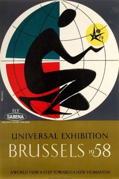 Brussels Universal Exhibition 1958 Sabena - original vintage poster listed on AntikBar.co.uk