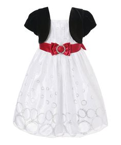 Richie House White & Black Bow Dress - Infant & Toddler by Richie House #zulily #zulilyfinds