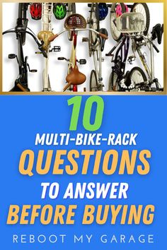 """To get the right bike rack, ask questions such as: """"Does the rack hold the right quantity of bikes?"""" Think about dismounting the bikes: """"Is there room to get the bike down from a full rack?"""" Think about the bike widths: """"Are the hooks adjustable so you can move the bikes left to right within the rack space?"""" Think about the bike tires: """"Do you need a rack that can handle fat tires, kids' bikes, or several heavy bikes?"""" Garage Wall Organizer, Garage Wall Storage, Ladder Storage, Ball Storage, Ceiling Storage, Bicycle Storage, Garage Walls, Garage Organization, Garage Vacuums"""