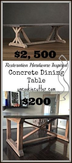 Stop By To Get All The Details On How I Made This Concrete Dining Table,  Even Though I Had Never Used Concrete Before!